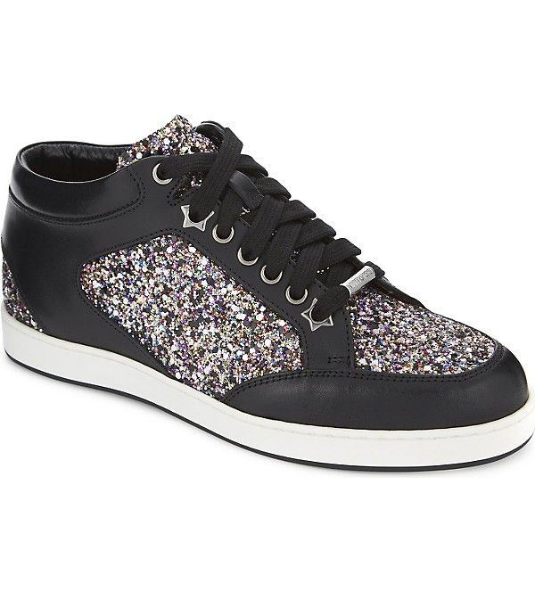 2d466c2e1a7 Miami leather and coarse glitter trainers in 2019 | Glitter trainers ...