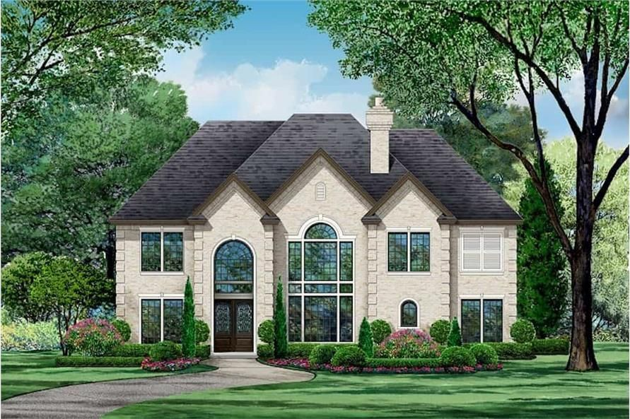 European Country Floor Plan 4 Bedrms 4 Baths 4940 Sq Ft Plan 195 1234 In 2021 House Plans Modern Lake House Colonial House Plans