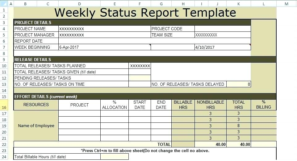 Project Weekly Status Report Template Excel (5 ...