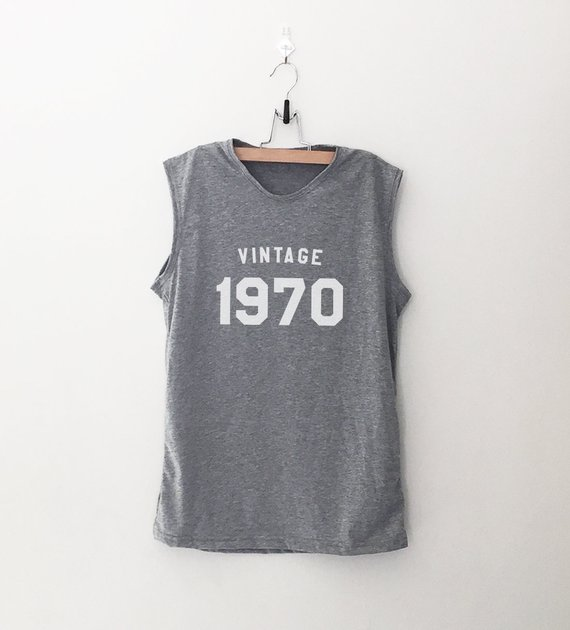 49th Birthday Gifts For Her Muscle Shirts Womens Graphic Tees Vintage 1970 Shirt Sleeveless T Sh