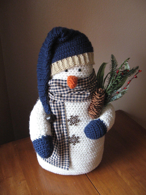Crocheted snowman country primitive decor j 39 aime no l au crochet no l crochet tricot et - Decoration au crochet ...