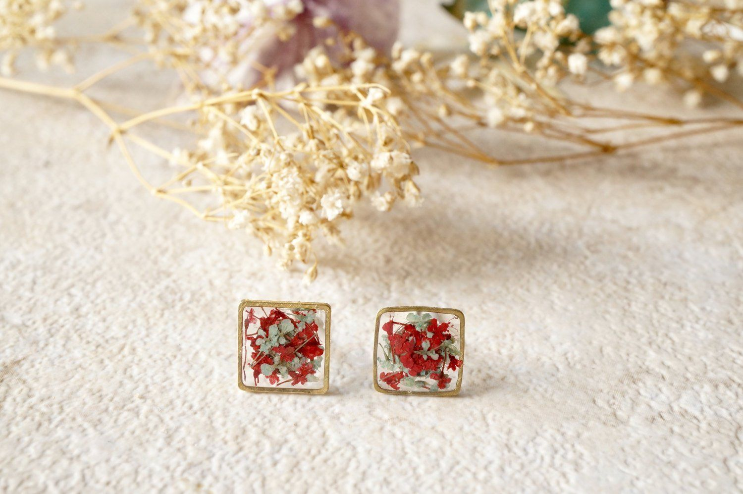 resin jewellery square studs mint and gold Mint stud earrings