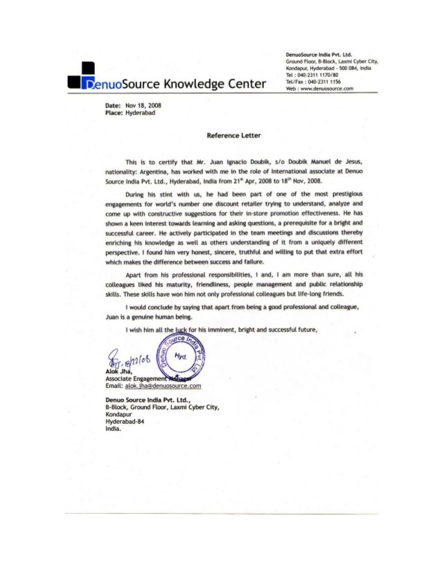 Reference Letter - Project Manager - DenuoSource Ltd Reference - recommendation letter for colleague