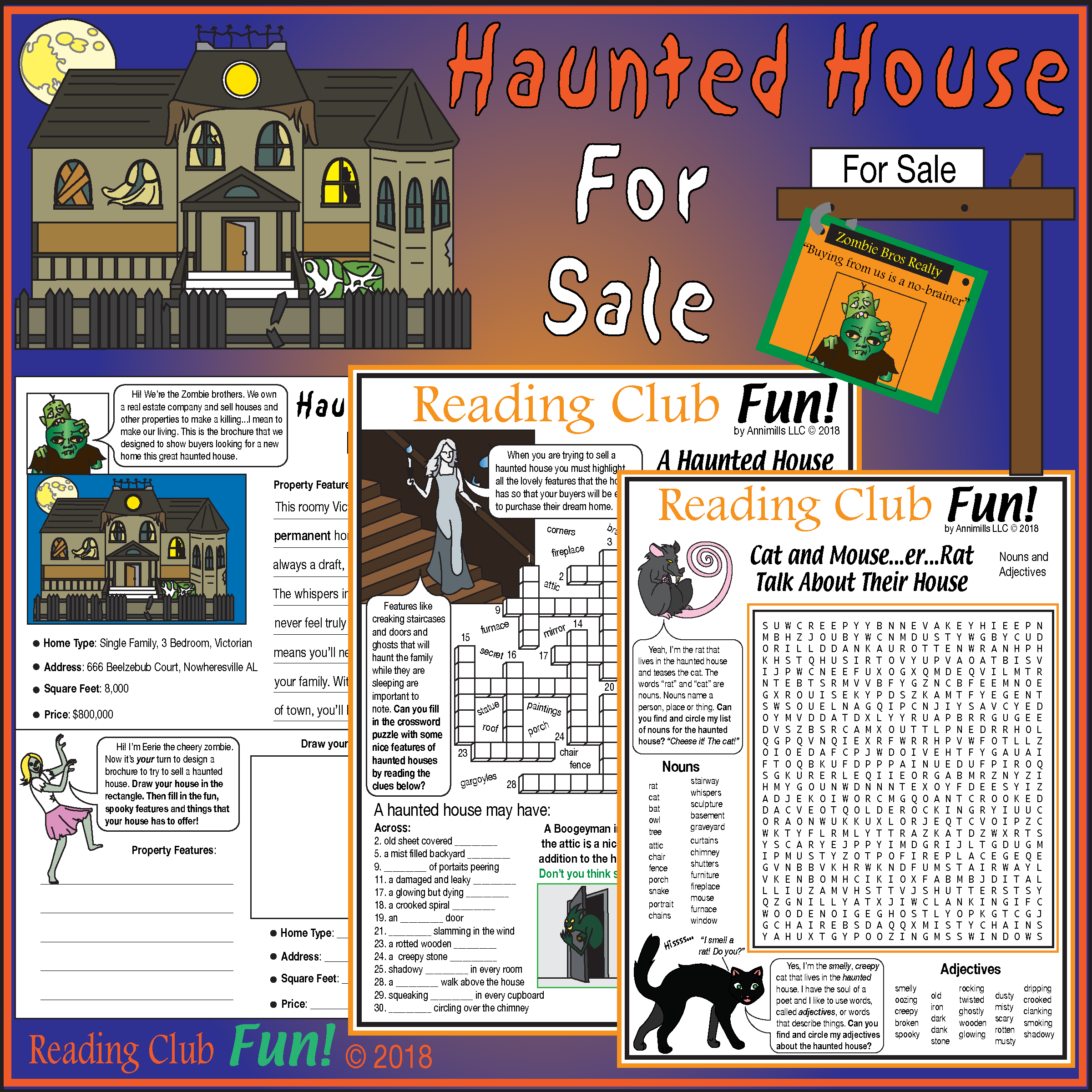Halloween Haunted House Puzzles Real Estate Set Synonyms