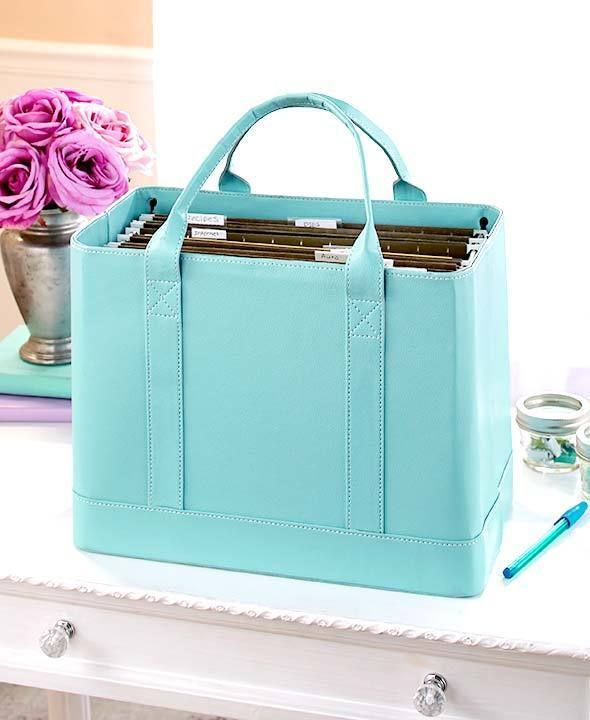 Women S Chic Faux Blue Leather Portable Hanging File Folder Carrier