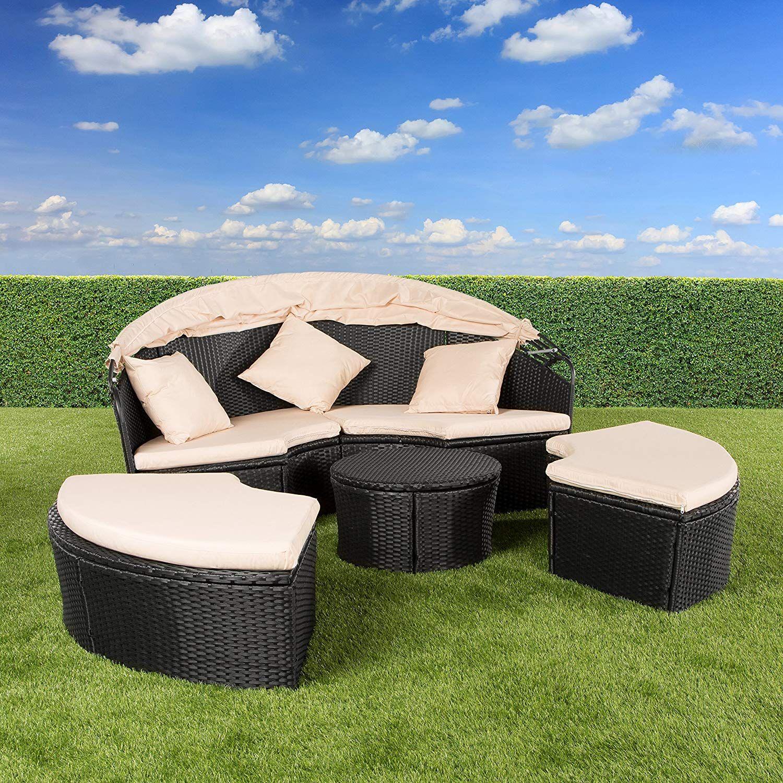 Polyrattan Sonneninsel Lounge Insel Outdoor Strandkorb Lounge Grau Mit Faltbarem Sonnendach Garten Couch Garten Lounge Set Wintergarten Mobel