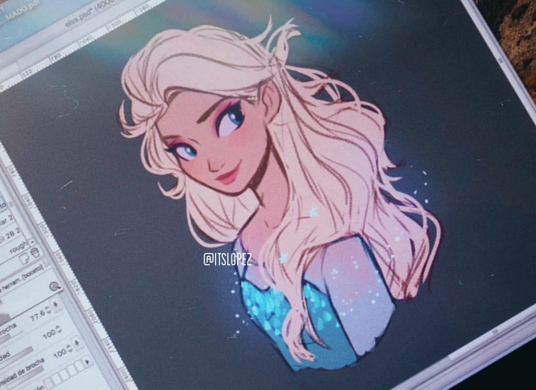 I Was Wondering How Elsa Would Look Like If She Let Her Hair Down Disney Princess Art Disney Drawings Disney Art