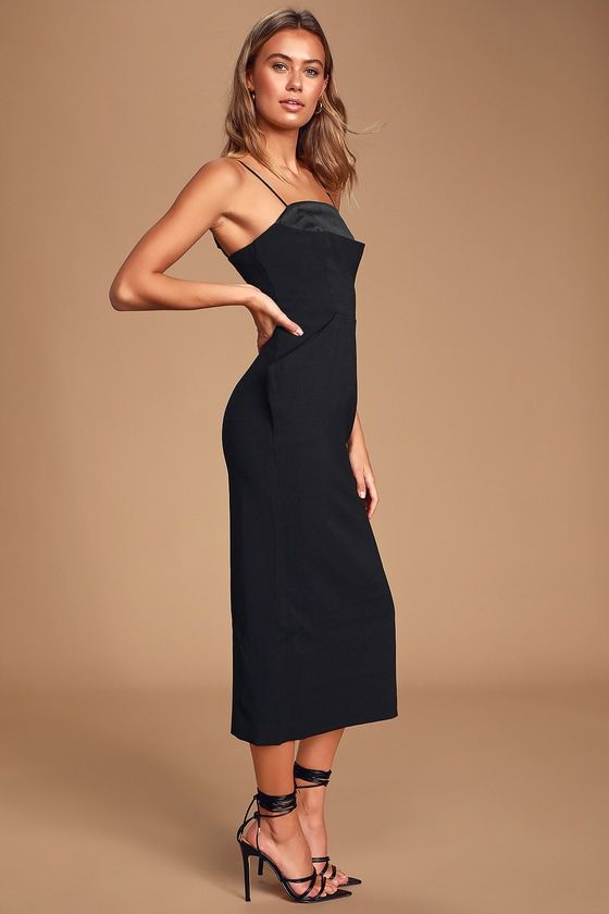 Lulus | Next Step Black Sleeveless Midi Dress | Size X-Small | 100% Polyester #blacksleevelessdress