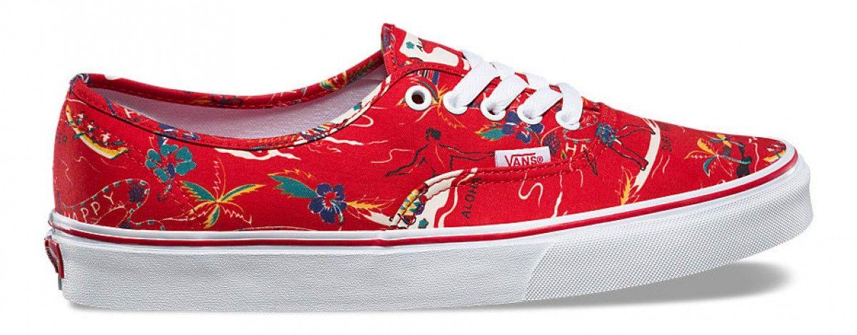 Vans Authentic (Hoffman) Red Happy Hawaii  21760b9d686