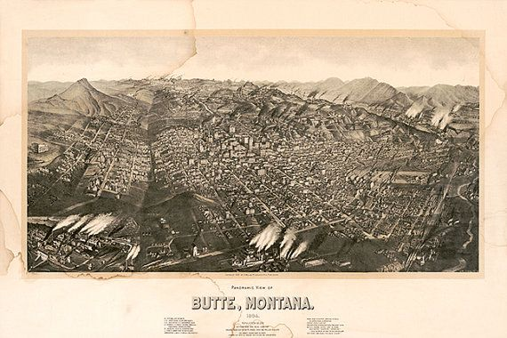 Bird/'s Eye View 1884 Butte City Montana Vintage Style City Map 24x36