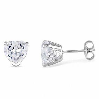 Zales 8.0mm Lab-Created White Sapphire Stud Earrings in 10K White Gold zgbdfK82d