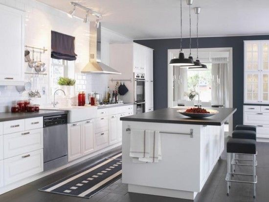 Ikea Kitchen White clean white #modern #kitchen with dark contrasting wall paint