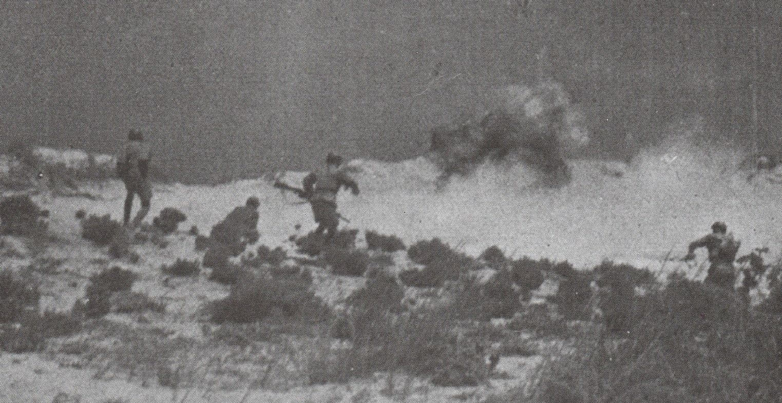 Paratroopers attack enemy lines during the battle of El Alamein