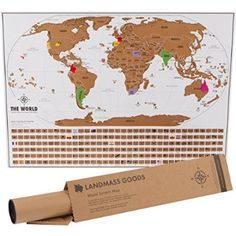 Scratch Map World  Unique Scratch Off Map Travel Gift with Flags