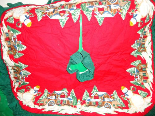 "Quilted Fabric Christmas Tree Skirt 41"" squared find me at www.dandeepop.com #dandeepop"