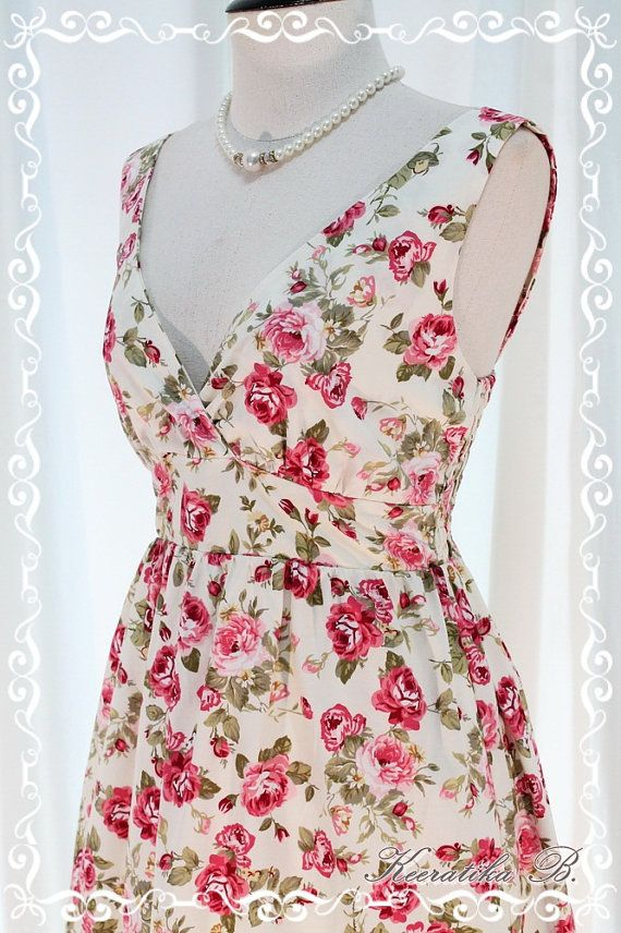 Miss Floral  Spring Summer Sundress White by LovelyMelodyClothing, $38.60