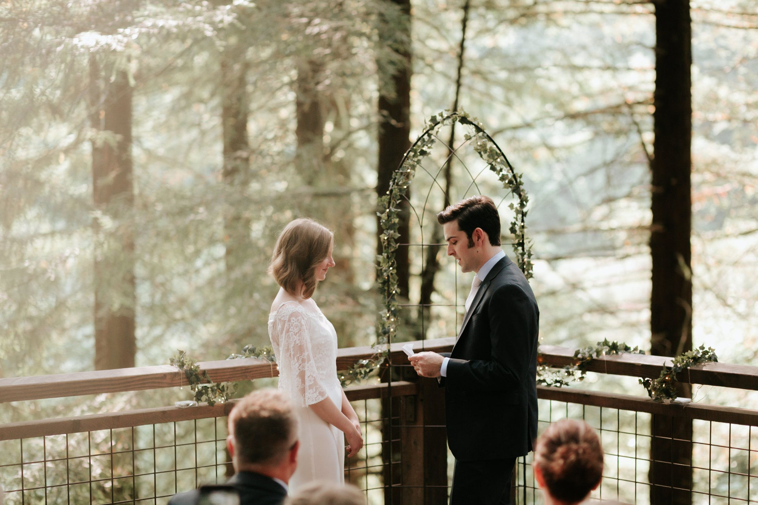 Simple Intimate Wedding Ceremony At The Hoyt Arboretum Redwood Deck In Portland Oregon By The Soft Sea Redwood Decking Portland Oregon Wedding Intimate Wedding