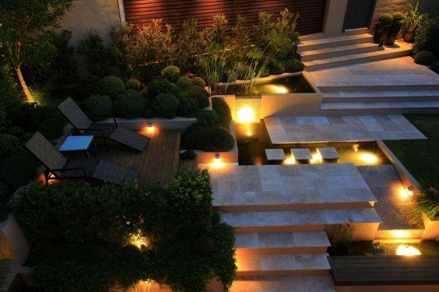Garten Hang anlegen Gartenteich Einbauleuchten Treppe   Outdoors ...