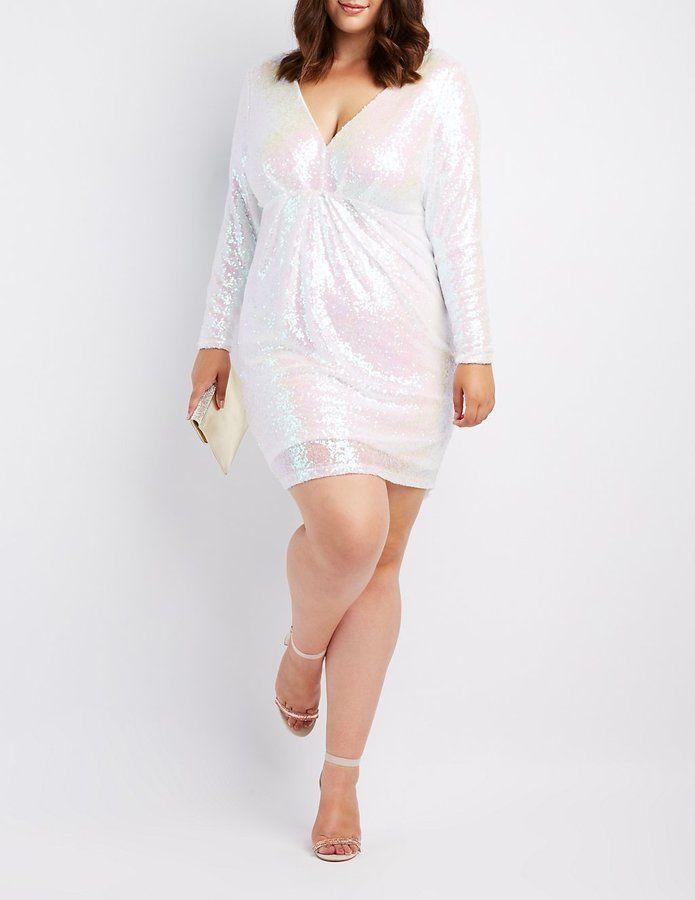 Plus Size Sequin V-Neck Bodycon Dress | Products | Dresses, Fashion ...