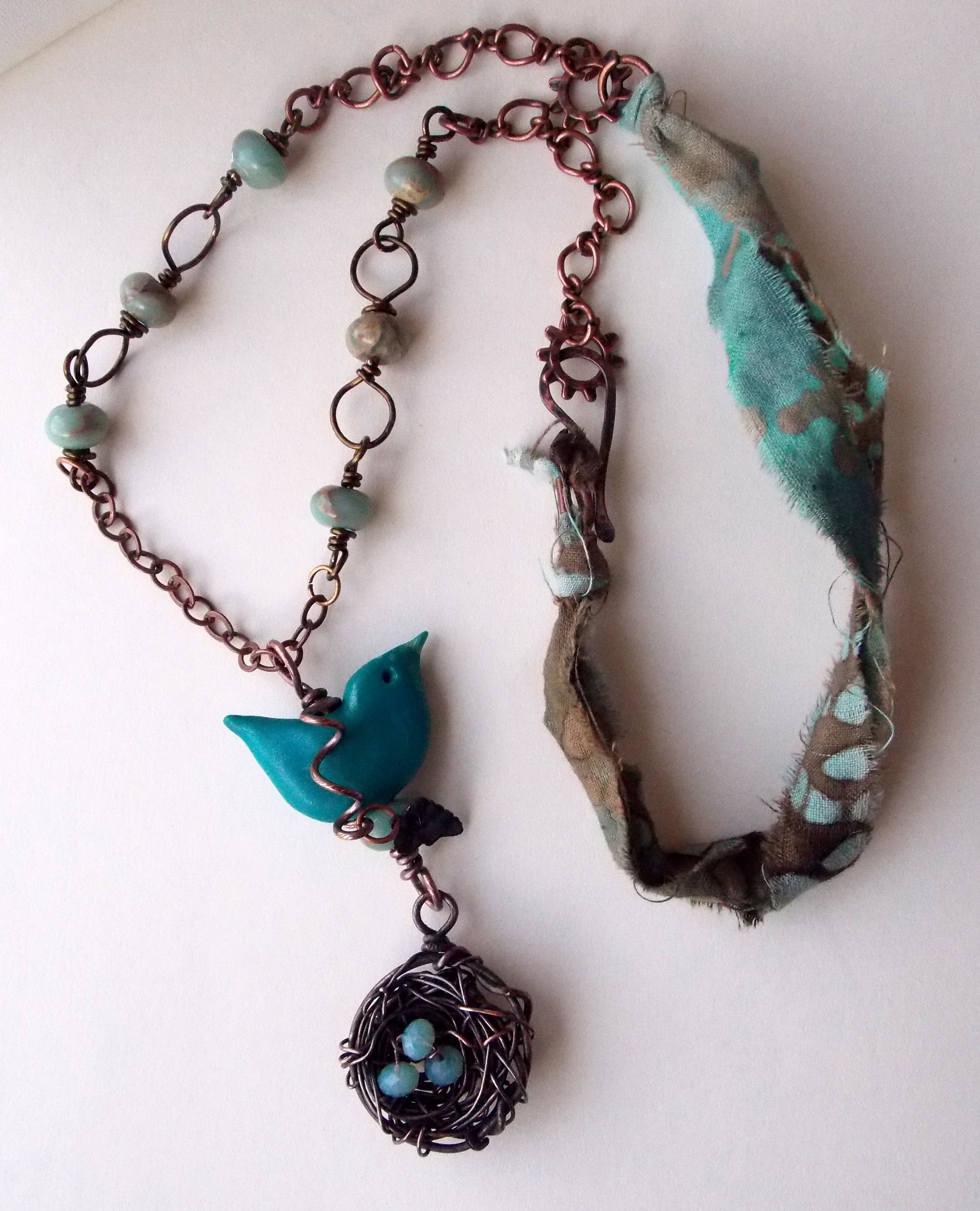 Bird on a Wire $75 Beautiful polymer blue bird with a copper nest of ...