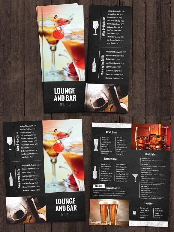 bar and lounge drink menu brochure templates pinterest menu