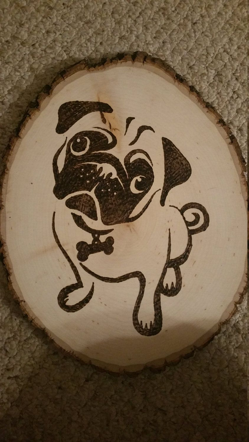 Pug Wood Burning Art Plaque Natural Wood By Thehypetype On Etsy