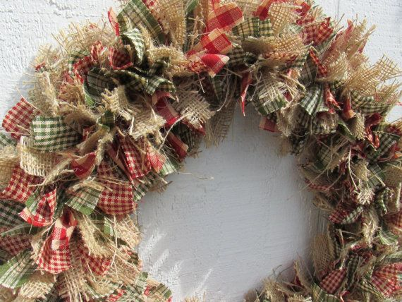 Burlap Christmas Rag Wreath Red Green Tan By