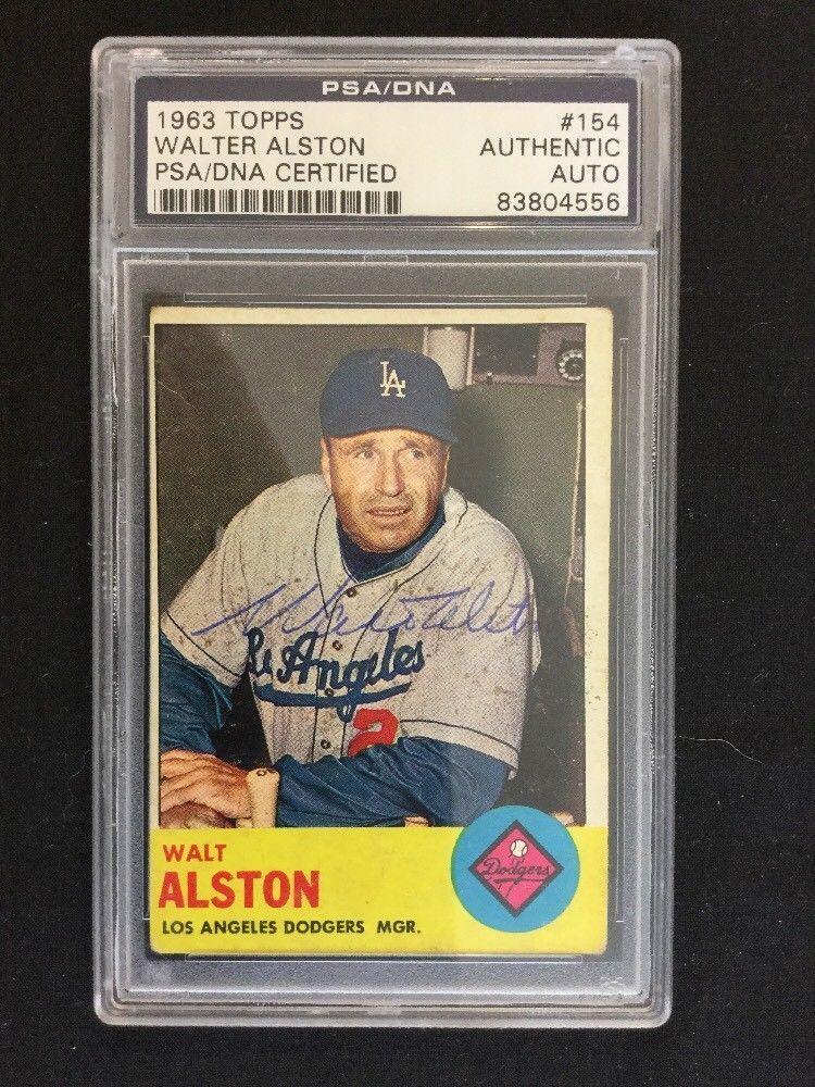 Walter Alston Autographed 1963 Topps 154 Psa Dna Certified Authentic Slabbed Dodgers Autographed Baseballs Ebay