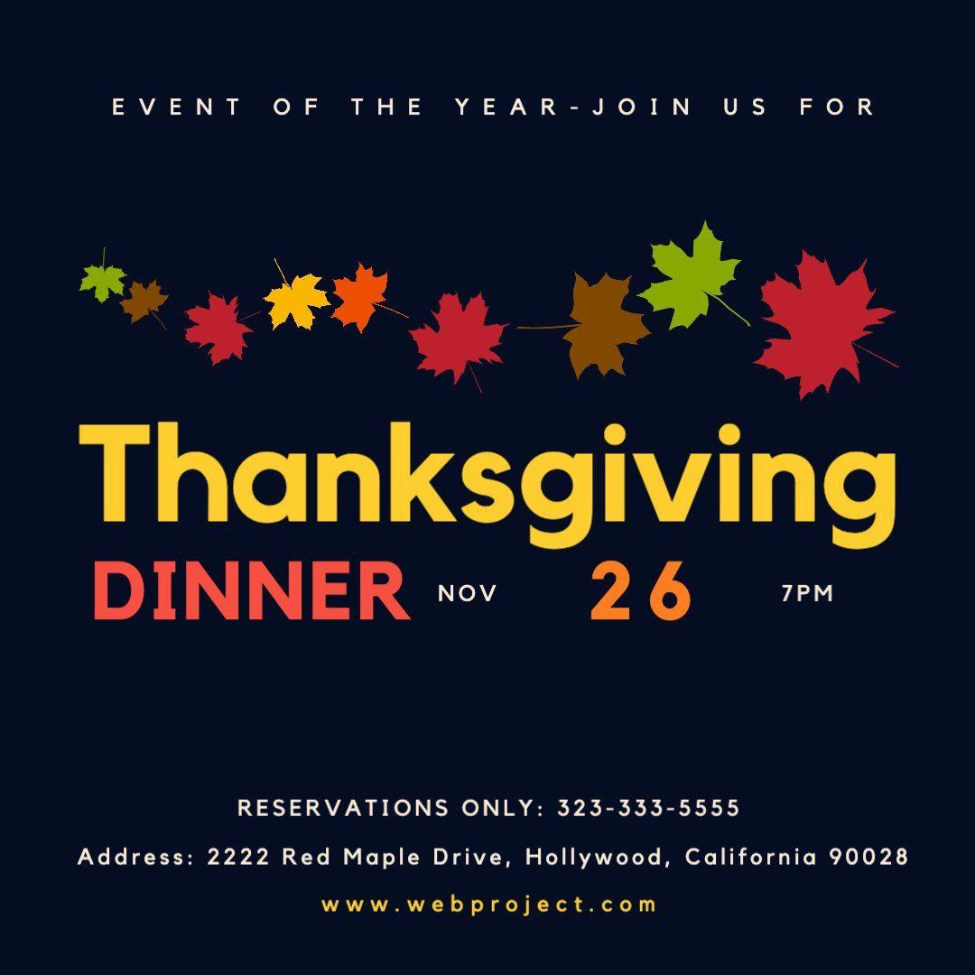Thanksgiving Dinner Date In 2020 Thanksgiving Templates Dinner Invitations Thanksgiving Dinner