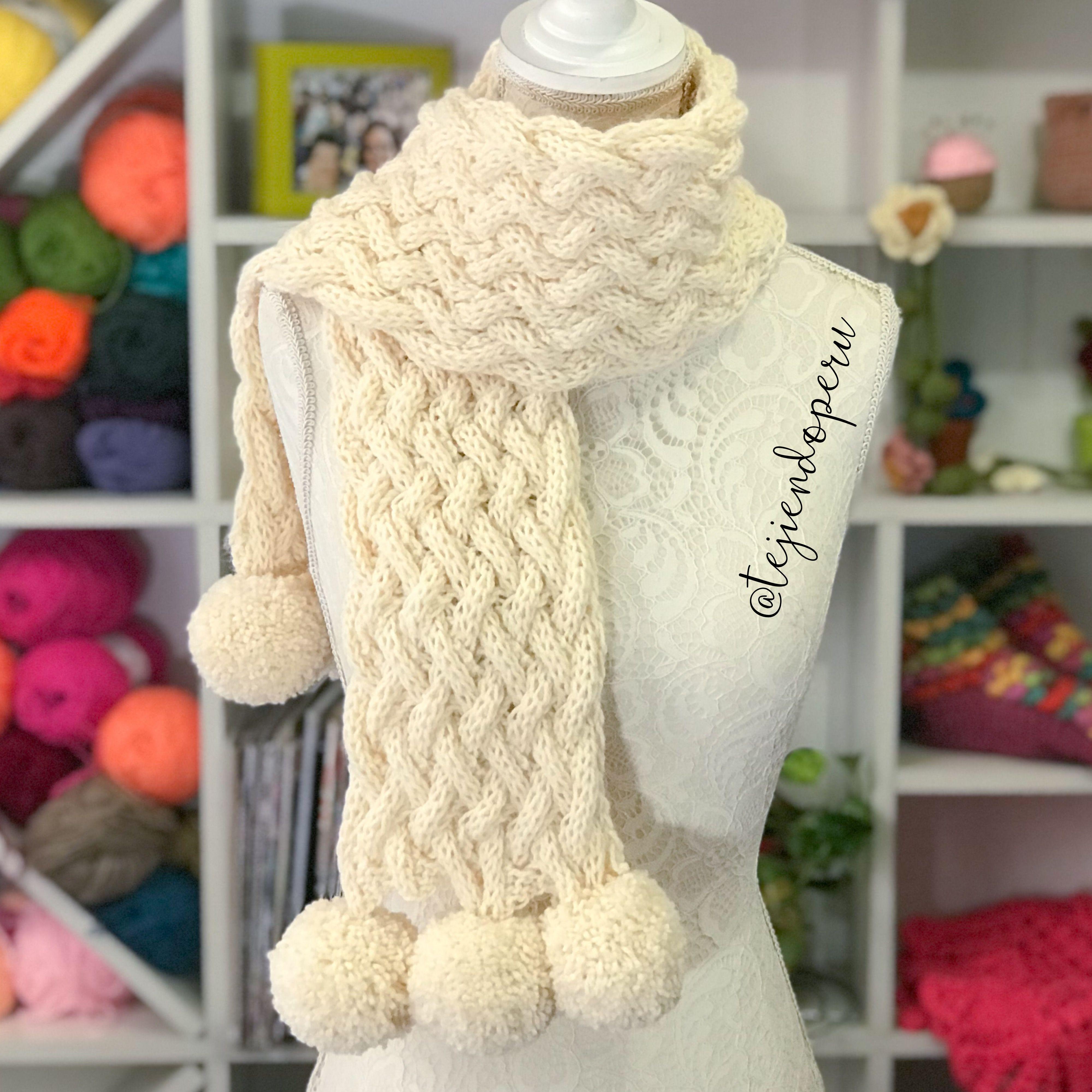 Increíble Hilo Voluminoso Patrón Bufanda Crochet Ornamento - Manta ...