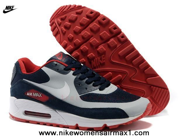 Blue Gray Red Nike Air Max 90 Hyperfuse Mens Trainers
