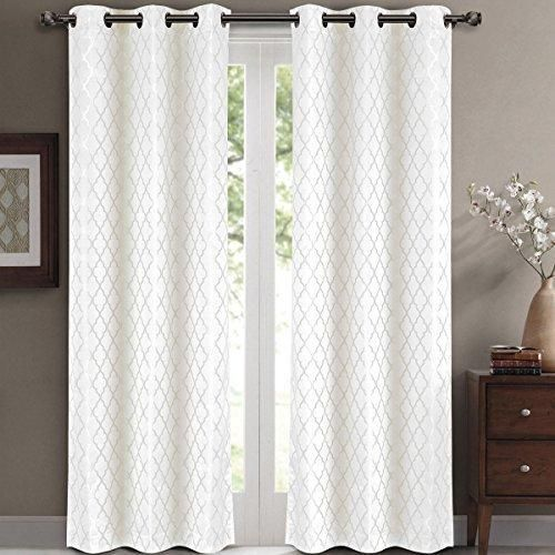 Willow Jacquard White Grommet Blackout Window Curtain Panels Pair Set Of 2 42x63 Inches