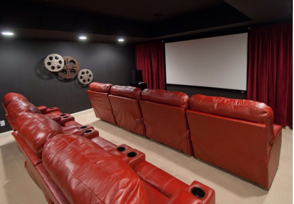 Dark Wall W Red Curtain Home Theater Room