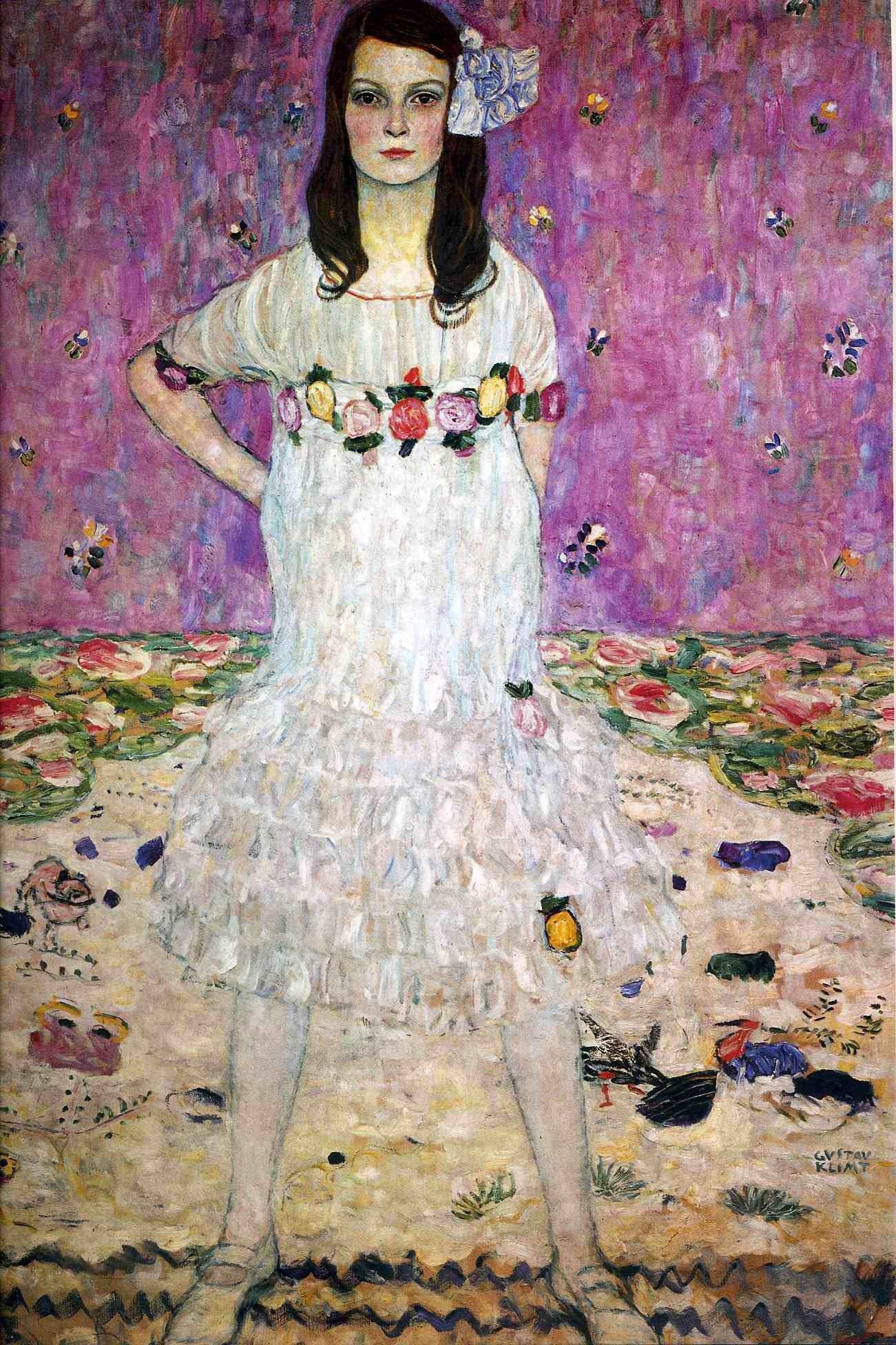 Gustav Klimt: Ritratto di Mäda Primavesi (1913) olio su tela 150x110. Stile: Simbolismo. Periodo: Opere mature