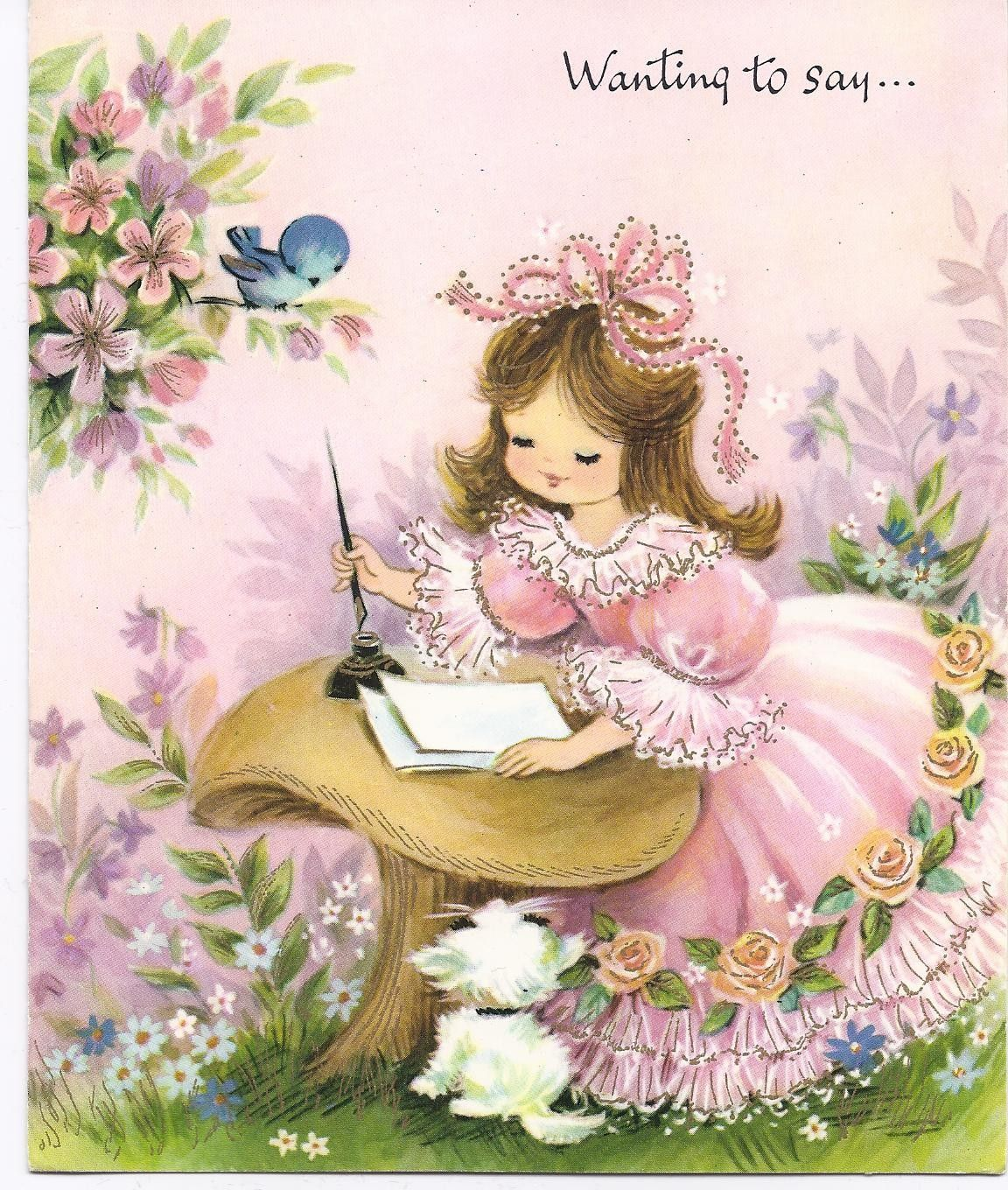 Images Of Vintage Girls First Birthday Card: Children's Books & Darling