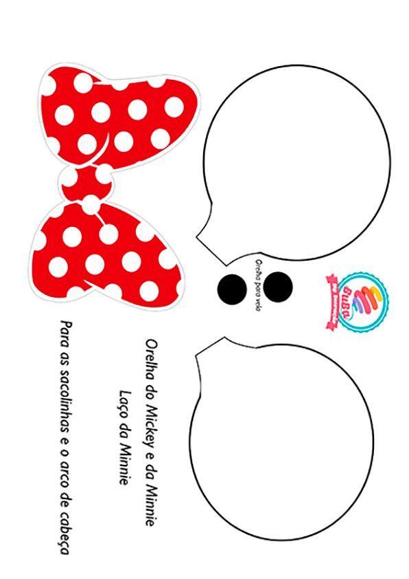 Molde da Minnie - laço e orelhas para tiara, tando da Minnie como do ...