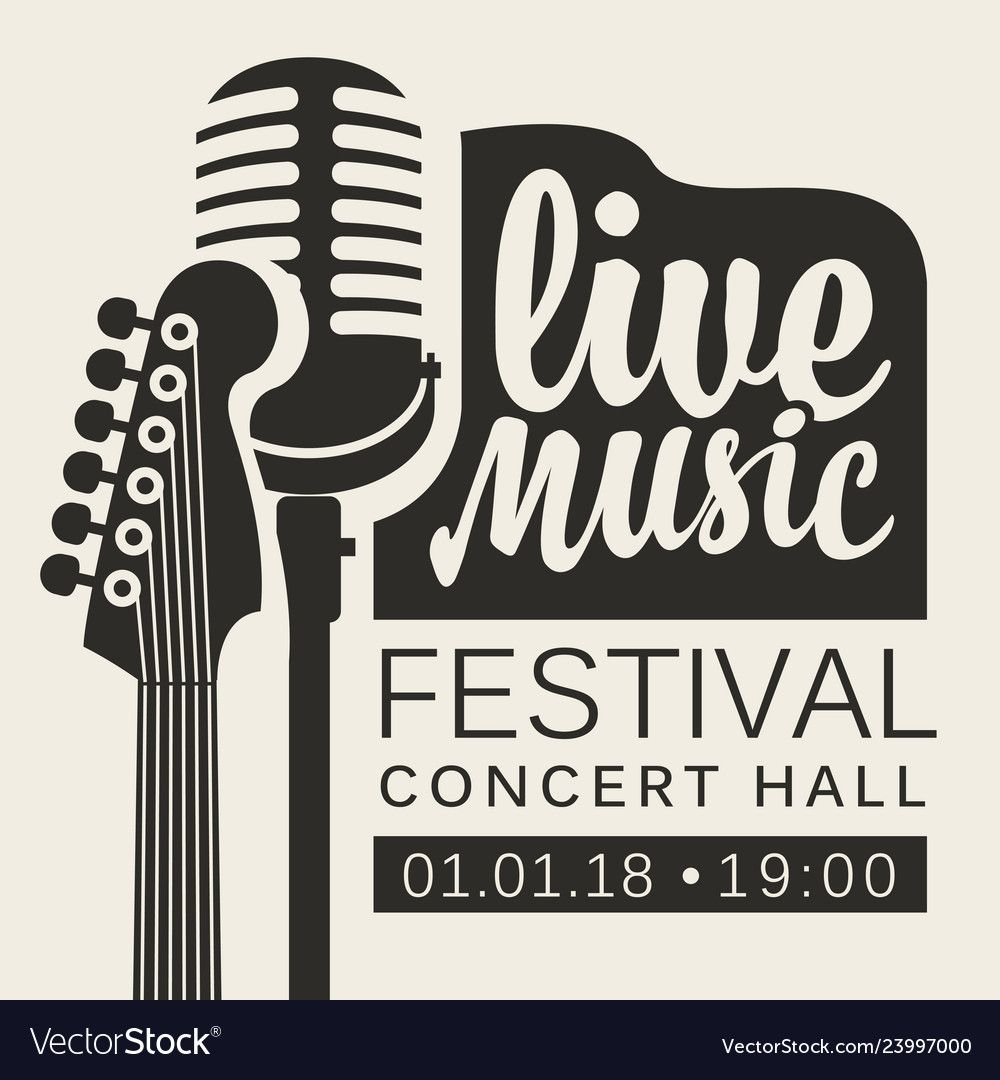 Poster For Live Music Festival With Guitar And Mic Aff Music Live Poster Mic Ad Live Music Poster Music Festival Logos Music Logo Design
