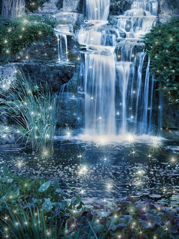 Waterfall Photo Backdrop Fantasy Forest Waterfall Painted