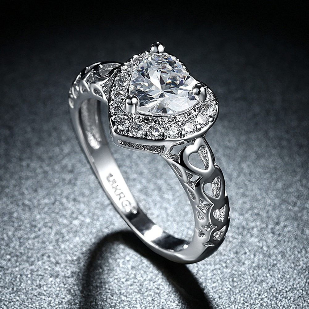 Rings Platinum Plated Cubic Zirconia Heart Rings This Band Features A Stream Of Shimmer Wedding Rings For Women Jewelry Rings Promise Engagement Rings Romantic