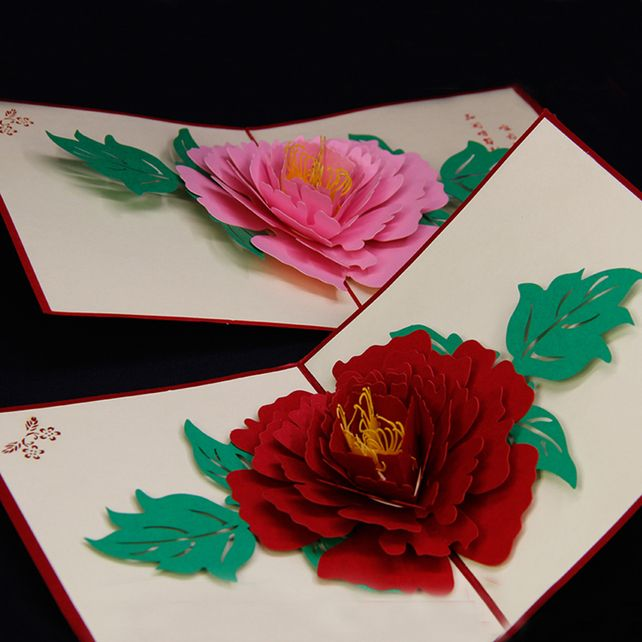 Big Rose Flower 3d Peony Handmade Pop Up Card Greeting Gift Card In Red Pop Up Flower Cards Pop Up Cards Paper Flowers