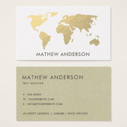Elegant gold faux kraft world map personalised business card gumiabroncs Gallery