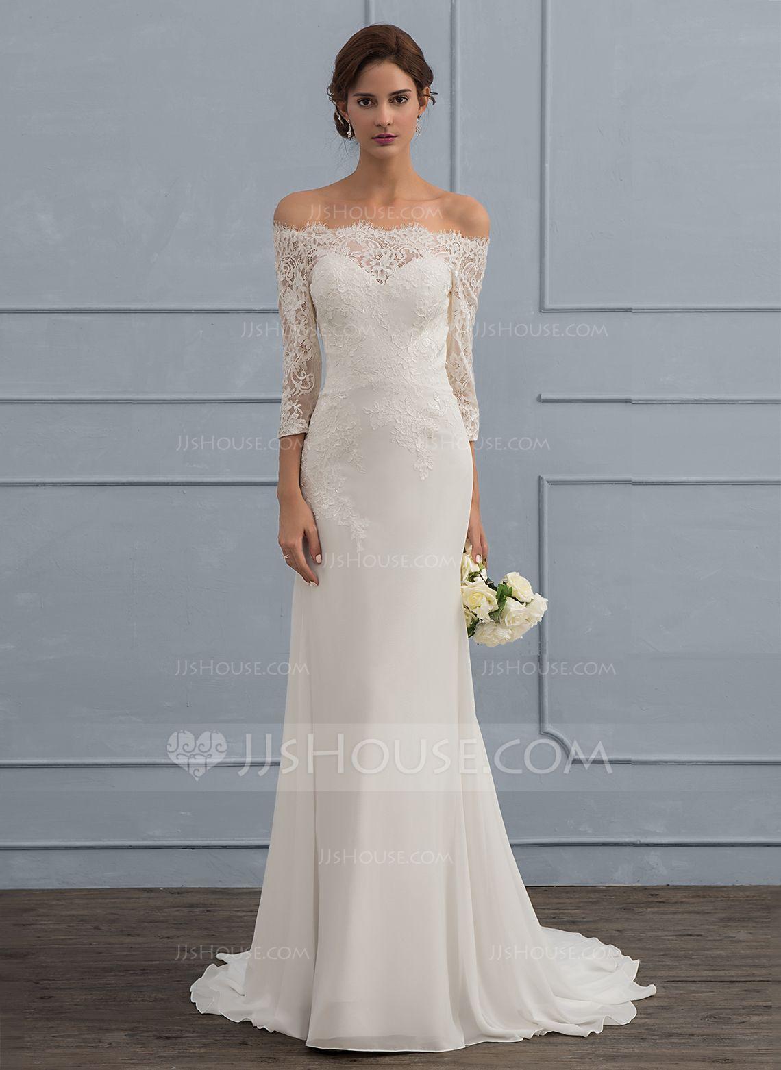 Trumpet/Mermaid Off-the-Shoulder Sweep Train Chiffon Wedding Dress ...