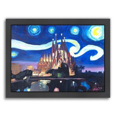 East Urban Home Starry Night in Barcelona Framed Painting Size: 20.5