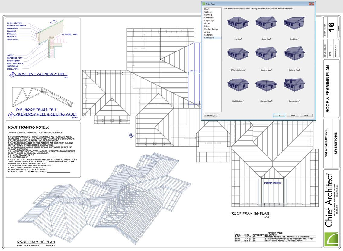 Roof plan construction documents 3d models renderings - Free home design drawing software ...
