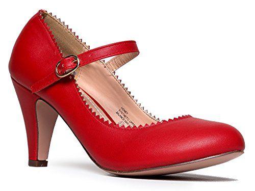 J Adams Honey Heels for Women Round Toe Scalloped Edge Retro Mary Jane Pumps