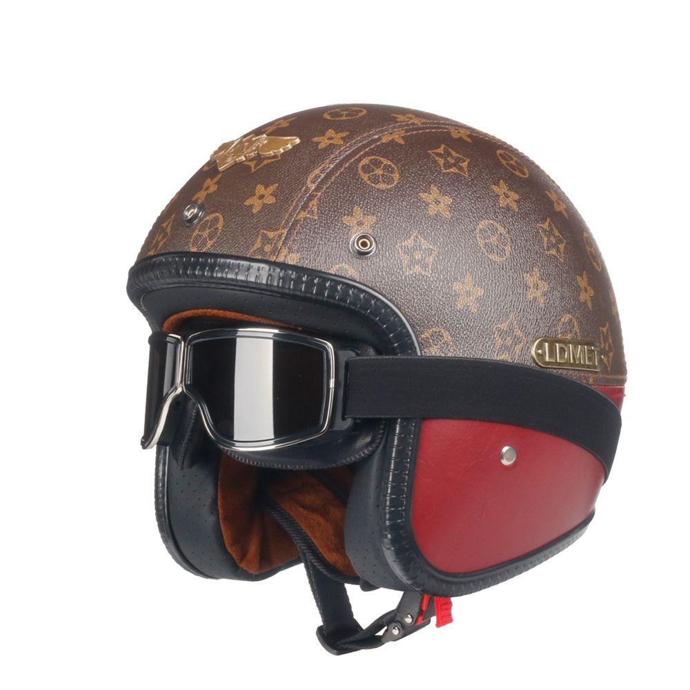 Louis Vuitton Pattern Helmet Open Face Helmet Motorcycle Pu Leather Retro Jet Kask 3 4 Half Face Open Face Helmets Helmet Leather