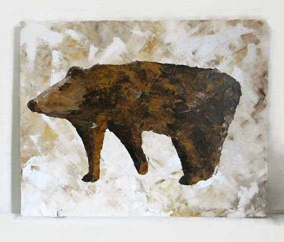 Brown Bear Original Acrylic Painting 24X30 by NatkOriginalArt #artistsloft #etsyfinds #handmade