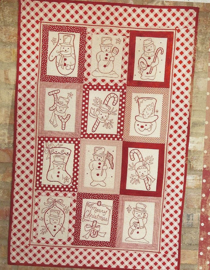 Folk Art Quilt Ideas : SALE - Primitive Folk Art Wall Quilt Pattern: VINTAGE Redwork SNOWMEN. USD 16.00, via Etsy. My ...