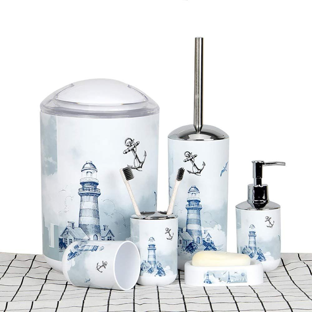 Lohox 6 Teiliges Badezimmer Set Leuchtturm Badezimmerzubehor Set Aus Kunststoff Mit Lotionsflaschen Zahnburstenh In 2020 Badezimmer Set Seifenspender Zahnburstenhalter