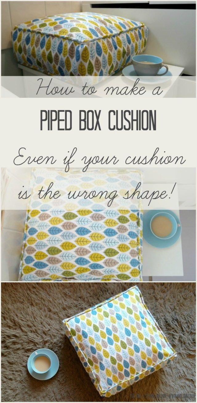 It's easy to make a box cushion and this tutorial shows you how! There are no zips and nothing too fiddly. The tutorial includes how to make the piping, and also how to turn an ordinary cushion into a box shaped cushion. Tea and a Sewing Machine www.awilson.co.uk